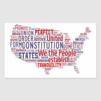 Constitution of the United States in Shape of USA Rectangular Sticker