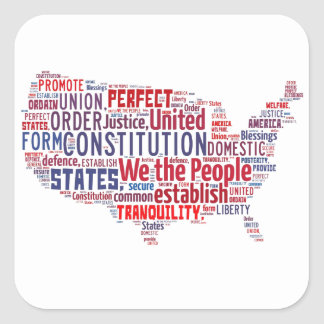 Constitution of the United States in Shape of USA Square Sticker