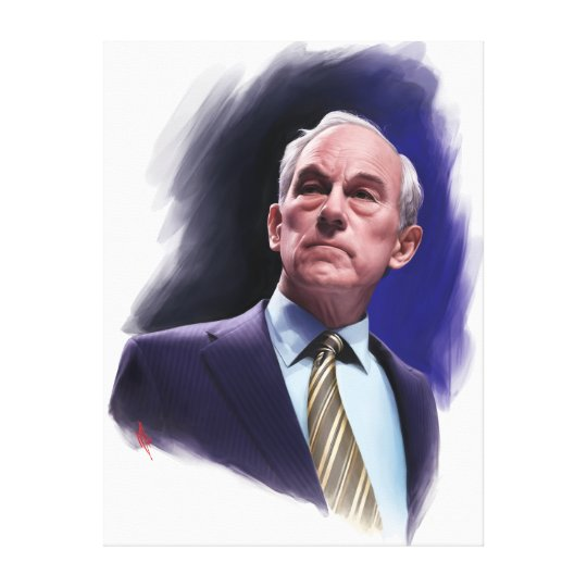 Constitutional Champion Ron Paul Suit and Tie Bust Canvas Print