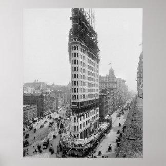 Construcción de edificios de Flatiron, 1902 Póster