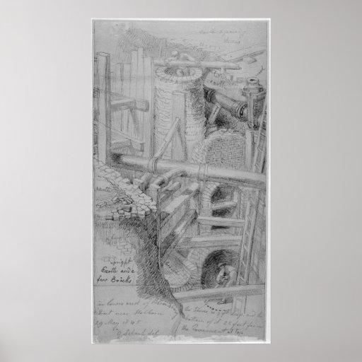 Construcción de la alcantarilla en Bloomsbury, Lon Poster