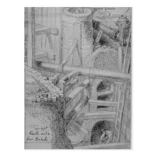 Construcción de la alcantarilla en Bloomsbury, Lon Postales