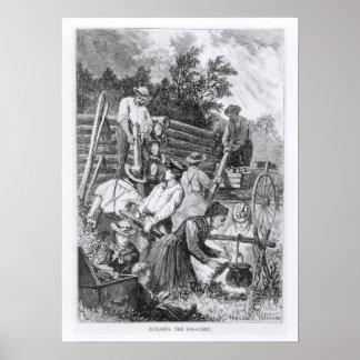 Construcción de la cabaña de madera póster