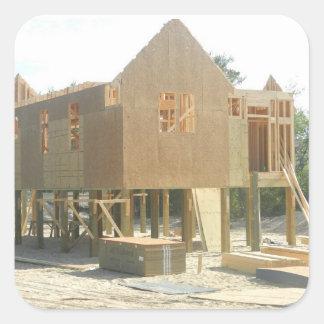 Construcción de la casa de playa pegatina cuadrada