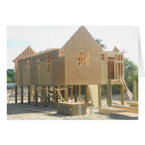 Construcción de la casa de playa tarjeta de felicitación