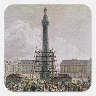 Construcción de la columna de Vendome en 1803-10 Pegatina Cuadradas Personalizadas
