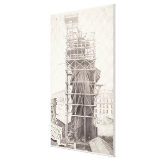 Construcción de la estatua de la libertad impresión en lienzo