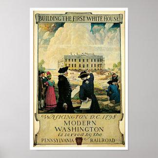 Construcción de la primera Casa Blanca Póster