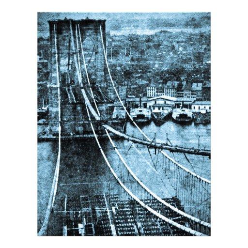 construcción de los 1870s del puente de Brooklyn N Plantillas De Membrete