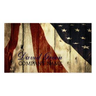 construcción de madera de bandera americana del tarjetas de visita