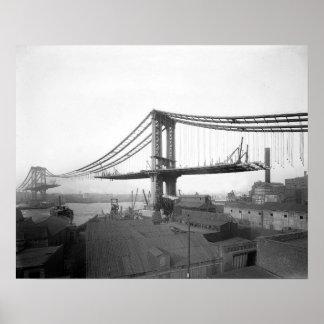Construcción de puente de Manhattan, 1909 Póster