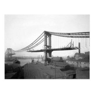 Construcción de puente de Manhattan, 1909 Postal