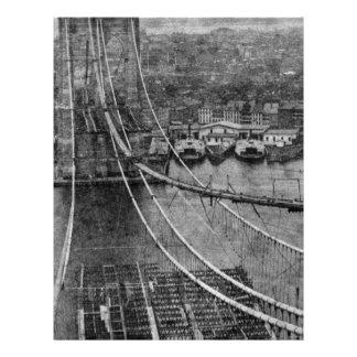 construcción de puente de New York City Brooklyn d Membrete