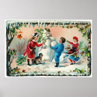 Construcción de un muñeco de nieve c.1890 póster