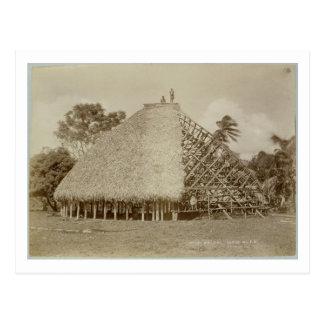 Construcción de viviendas en Samoa, c.1875 (foto Tarjeta Postal