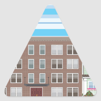 Construcción de viviendas pegatina triangular