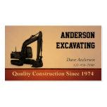 Construcción del excavador tarjeta de visita