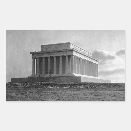 Construcción del Lincoln memorial (1920) Rectangular Pegatina