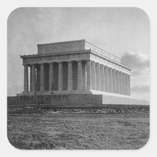 Construcción del Lincoln memorial (1920) Pegatina Cuadrada