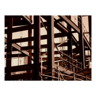 Construcción del marco de acero póster