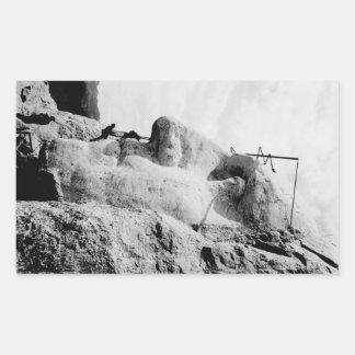 Construcción del monte Rushmore Pegatina Rectangular