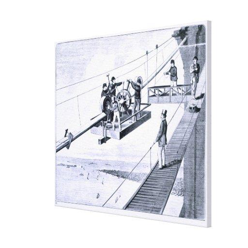 Construcción del puente de Brooklyn, Nueva York (l Impresión En Lienzo Estirada