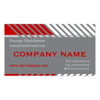 Construcción moderna de las rayas gris, rojo, tarjetas de visita