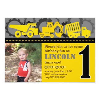 Construction 1st Birthday 5x7 Paper Invitation Card
