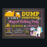 "Construction and Unicorn Joint Birthday Invitation<br><div class=""desc"">All designs are © Happy Panda Print</div>"