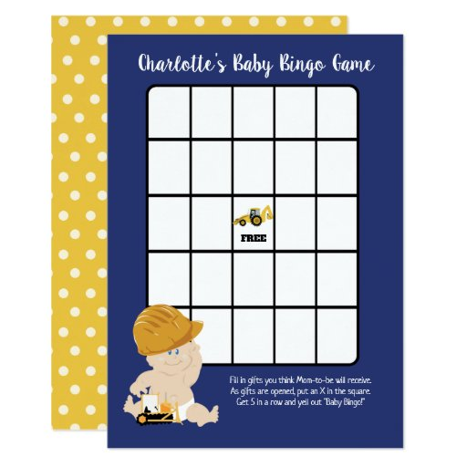 Construction Baby Boy Bingo Game Card