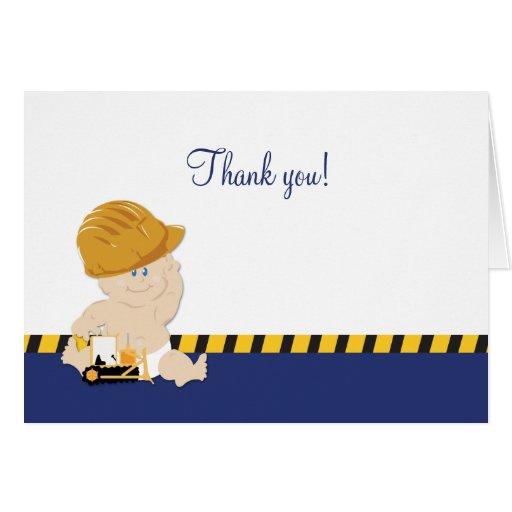 Construction Baby Boy Bulldozer Thank you Notes