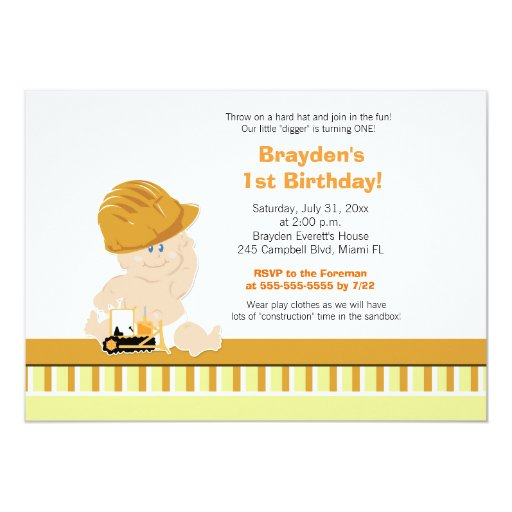 Construction Baby Custom 1st Birthday Invitation