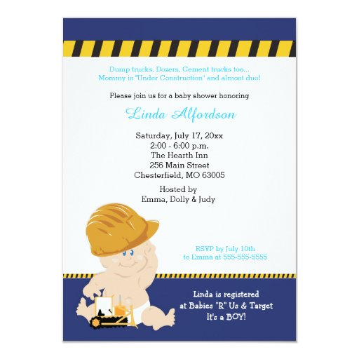 Construction Baby Custom Baby Shower Invitation