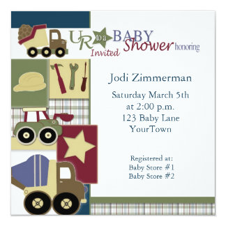 "construction_baby_shower2, Jodi Zimmerman, Satu… Invitación 5.25"" X 5.25"""