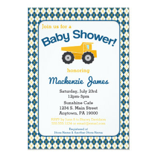 Construction Baby Shower Invitation Boy Truck
