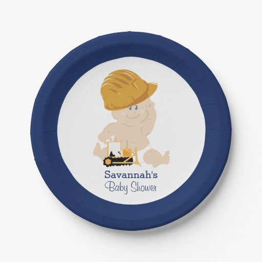 Construction Baby Theme Baby Shower Paper Plate