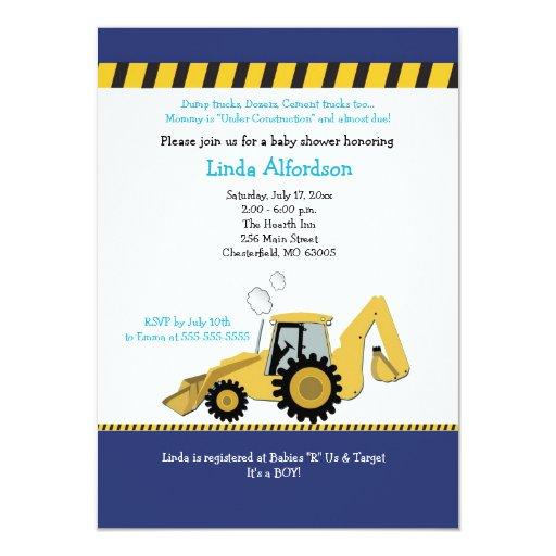 Construction Backhoe Baby Shower Invitation | Zazzle