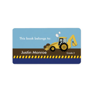Construction Backhoe Bookplate label