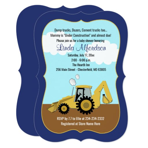 Construction Backhoe Boy Baby Shower Invitation