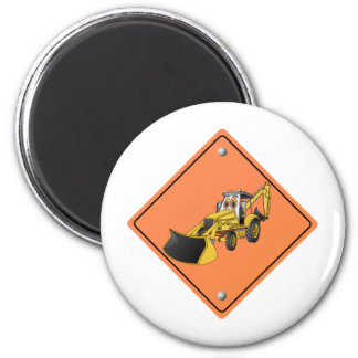 Construction Backhoe Cartoon Sign.png Magnet