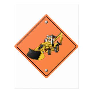 Construction Backhoe Cartoon Sign png Postcard
