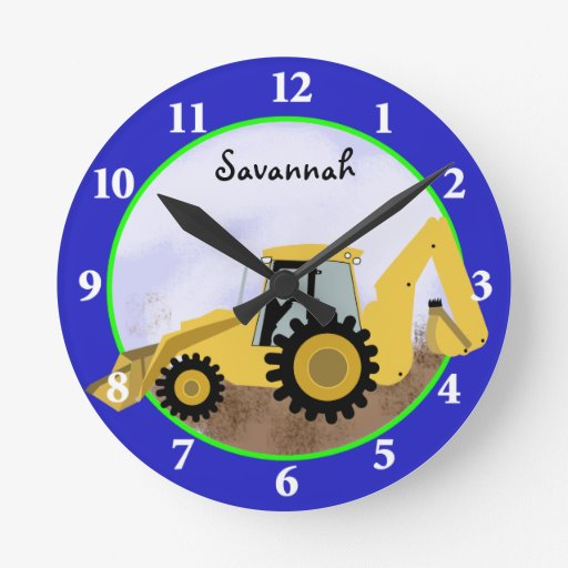 Construction Backhoe Clock (Blue) Add a Name