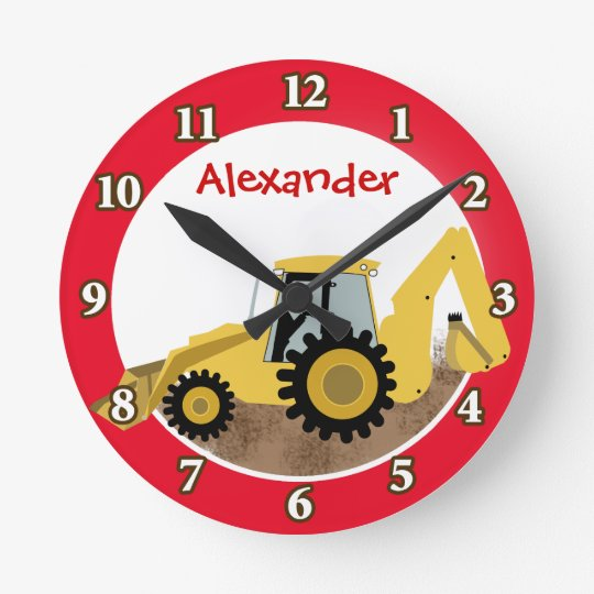 Construction Backhoe Clock (Red) Add a Name