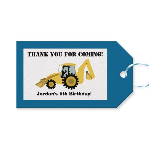Construction Backhoe Custom Gift Favor Tag