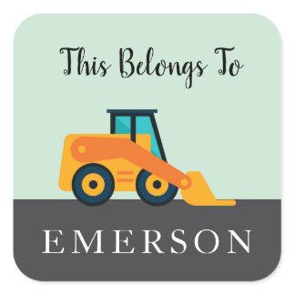 Construction Backhoe Kids Labels