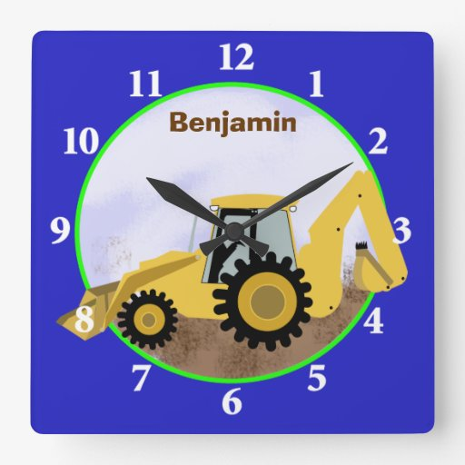 Construction Backhoe Wall Clock (Blue)