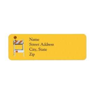 Construction Barricade Address Labels
