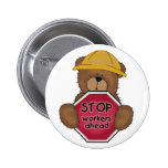 Construction Bear T-shirts and Gifts Pinback Buttons