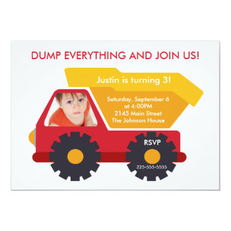 Construction Birthday 5x7 Paper Invitation Card