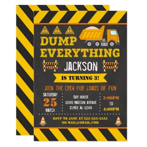 Construction Birthday Invitation  Dump Truck
